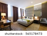 Stock photo interior of hotel apartment bedroom 565178473