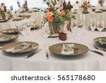 dinner table at wedding... | Shutterstock . vector #565178680