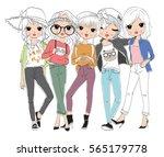 Stock vector cute girl 565179778