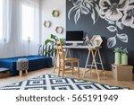 modern designed bedroom with... | Shutterstock . vector #565191949
