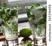 Small photo of Mojito closeup in the bar, alcoholic or non-alcoholic cocktails