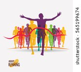 running people set of... | Shutterstock .eps vector #565199674