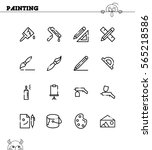 painting flat icon set.... | Shutterstock .eps vector #565218586