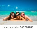 three young beautiful happy... | Shutterstock . vector #565220788