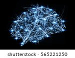 digital x ray human brain on... | Shutterstock . vector #565221250