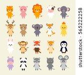set of animals cartoon vector... | Shutterstock .eps vector #565222258