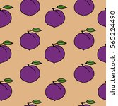 seamless vector fruit pattern... | Shutterstock .eps vector #565224490