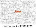 hand drawn set of ribbon... | Shutterstock .eps vector #565229173