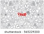 hand drawn set of hearts... | Shutterstock .eps vector #565229203