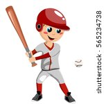 boy playing baseball isolated | Shutterstock .eps vector #565234738