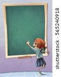 child writing on the blackboard   Shutterstock . vector #565240918