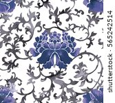 seamless chinese pattern. blue... | Shutterstock .eps vector #565242514