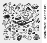 hand drawn big vector set with... | Shutterstock .eps vector #565245184