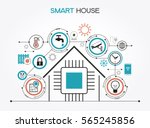 smart home control concept.... | Shutterstock .eps vector #565245856
