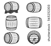 set of beer barrels isolated on ... | Shutterstock .eps vector #565252303