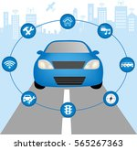 autonomous vehicle concept... | Shutterstock .eps vector #565267363