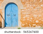Blue Wooden Door Of An...