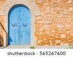 Blue Wooden Door Of An...