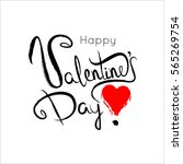 happy valentines day lettering... | Shutterstock .eps vector #565269754