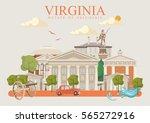 virginia vector american poster....   Shutterstock .eps vector #565272916