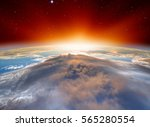 planet earth with a spectacular ... | Shutterstock . vector #565280554