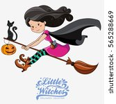 little witch. halloween witch.... | Shutterstock .eps vector #565288669