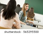students with computers... | Shutterstock . vector #565295500