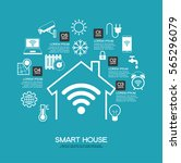 smart home control concept.... | Shutterstock .eps vector #565296079