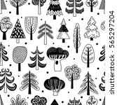 seamless pattern with trees and ... | Shutterstock .eps vector #565297204