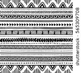 Seamless ethnic pattern. Black and white geometric pattern. Print for your textile. Vector illustration. | Shutterstock vector #565309708