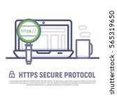 https secure protocol. notebook ... | Shutterstock .eps vector #565319650