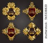 set of golden royal shields... | Shutterstock .eps vector #565338820