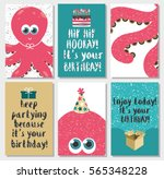 set of 6 cute creative cards... | Shutterstock . vector #565348228