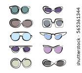 set of sunglasses. hand drawn... | Shutterstock .eps vector #565361344