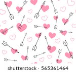 valentine arrows and pink... | Shutterstock .eps vector #565361464