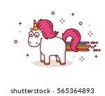 happy unicorn illustration ... | Shutterstock .eps vector #565364893