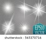 set of golden glowing lights... | Shutterstock .eps vector #565370716