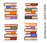 stacks of colorful books set.... | Shutterstock .eps vector #565374034