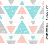 doodle triangle seamless... | Shutterstock .eps vector #565396144