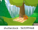 woodland landscape. cartoon.... | Shutterstock .eps vector #565399468
