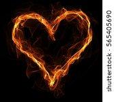 Fire Heart On Black Background. ...