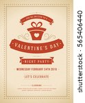 happy valentines day party... | Shutterstock .eps vector #565406440