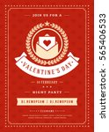 happy valentines day party... | Shutterstock .eps vector #565406533