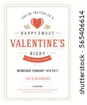 happy valentines day party... | Shutterstock .eps vector #565406614
