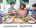 multi ethnic young friends... | Shutterstock . vector #565407190