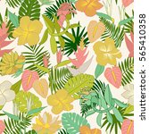 seamless tropical jungle floral ... | Shutterstock .eps vector #565410358