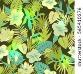 seamless tropical jungle floral ... | Shutterstock .eps vector #565410376