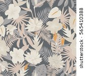 seamless tropical jungle floral ... | Shutterstock .eps vector #565410388