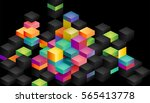 colorful blocks on a black... | Shutterstock .eps vector #565413778