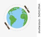 satellites flying above earth... | Shutterstock .eps vector #565413964